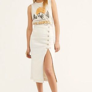 Free People Off White Jasmine Buttoned Midi Skirt